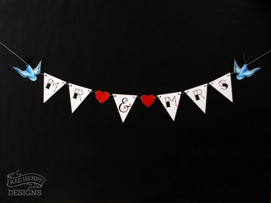 rockabilly wedding bunting