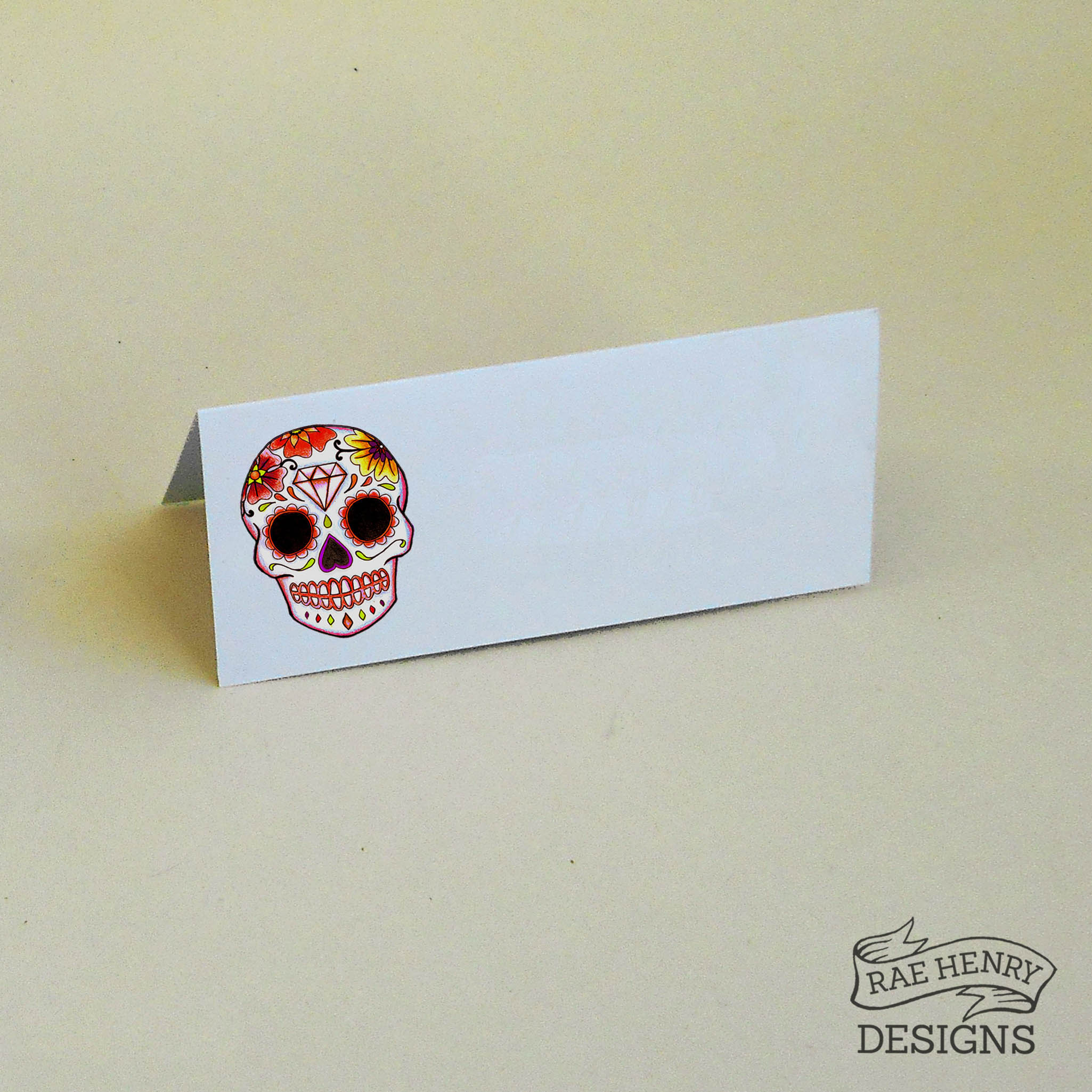 Red Sugar Skull place cards