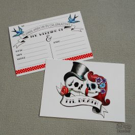 Rockabilly Skulls Wedding Invitations