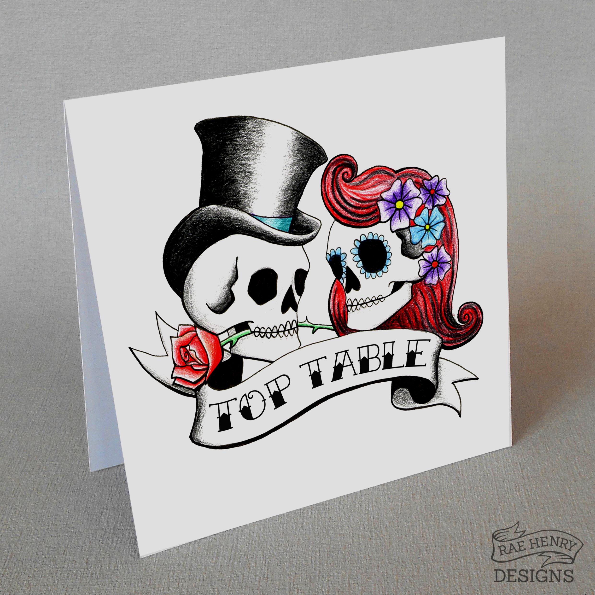 rockabilly skulls top table