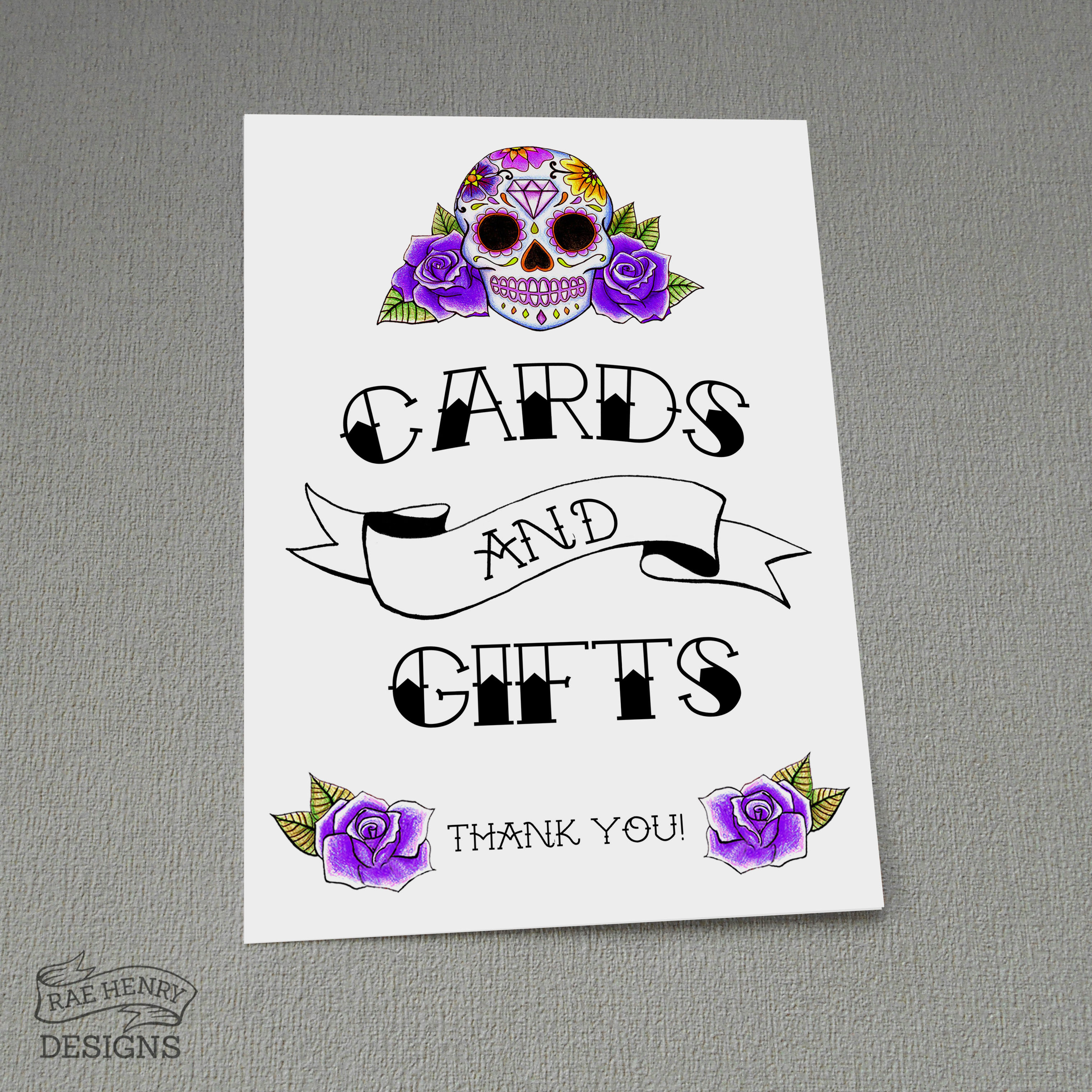 Sugar Skull Cards and Gifts Sign