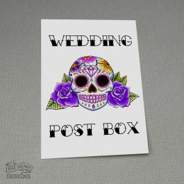 Sugar Skull Wedding Postbox Sign