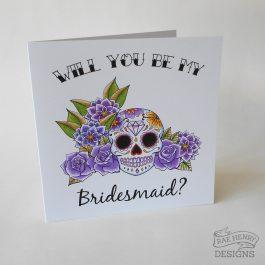 Sugar Skull Bridesmaid Card