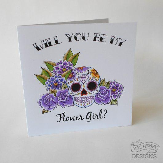 Sugar Skull Flower Girl Card