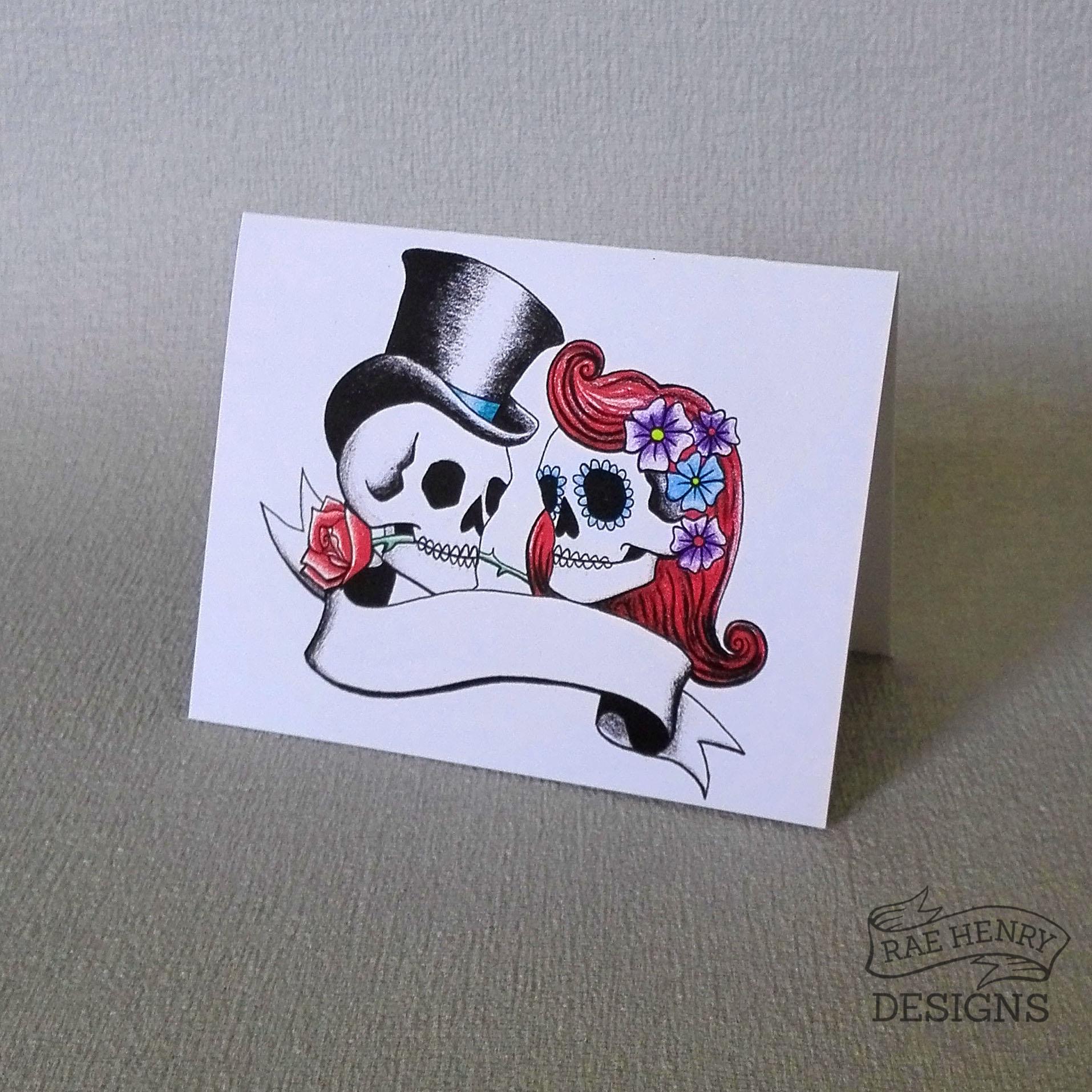 rockabilly skulls place card