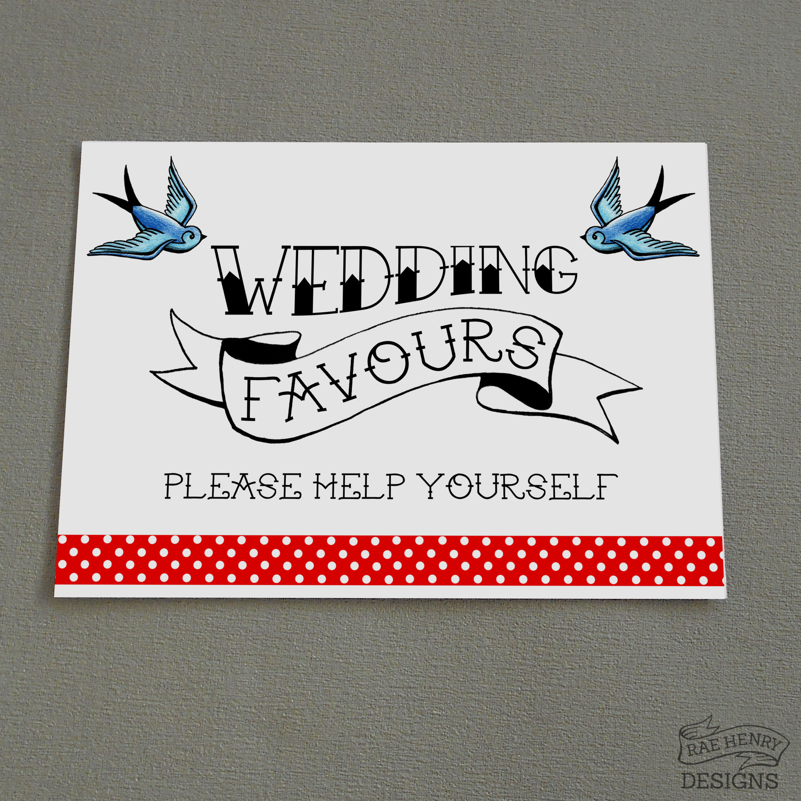 Tattoo Wedding Favours Sign