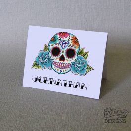 Blue Sugar Skull Place Card