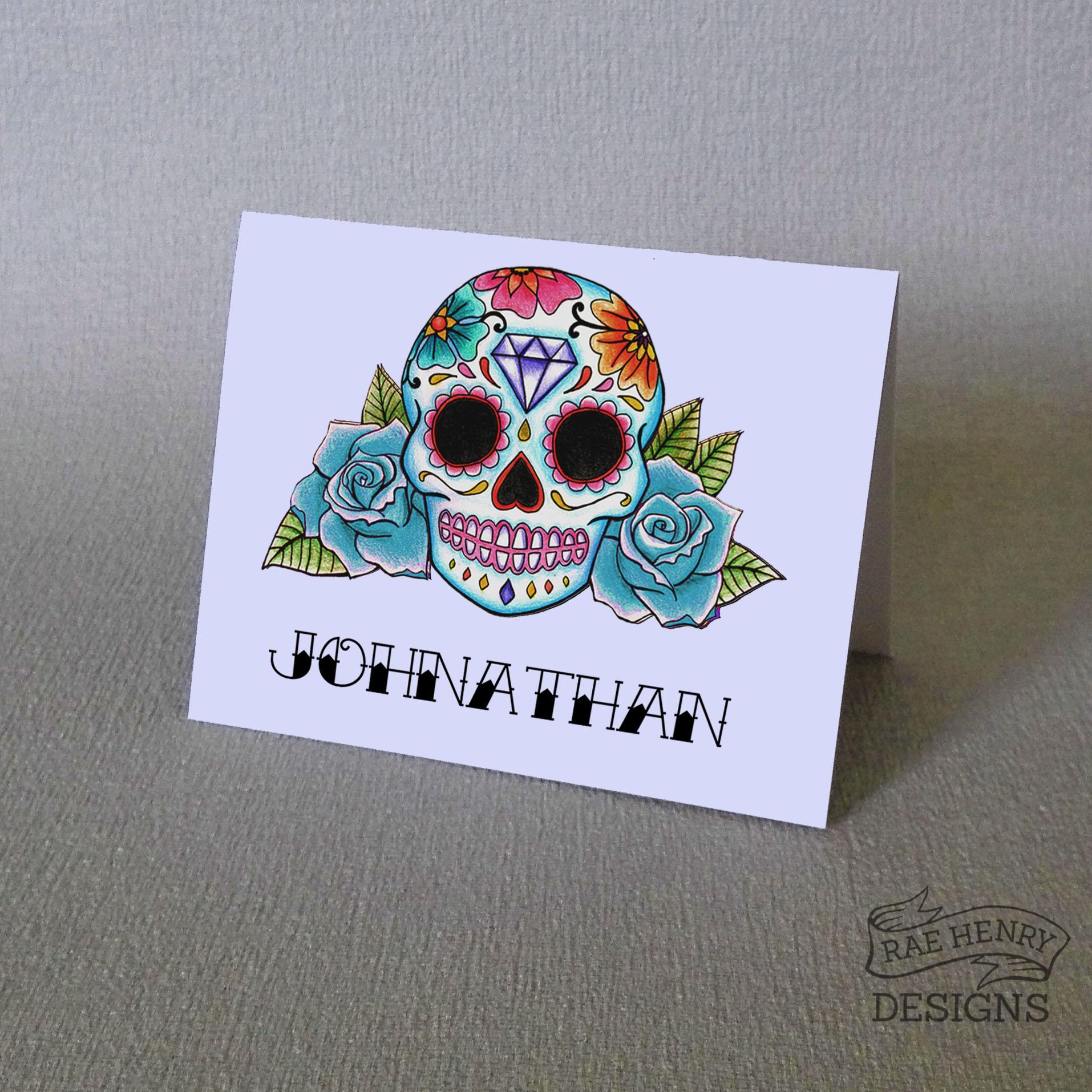 Blue Sugar Skull Place Card