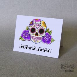 purple Sugar Skull Place Cards