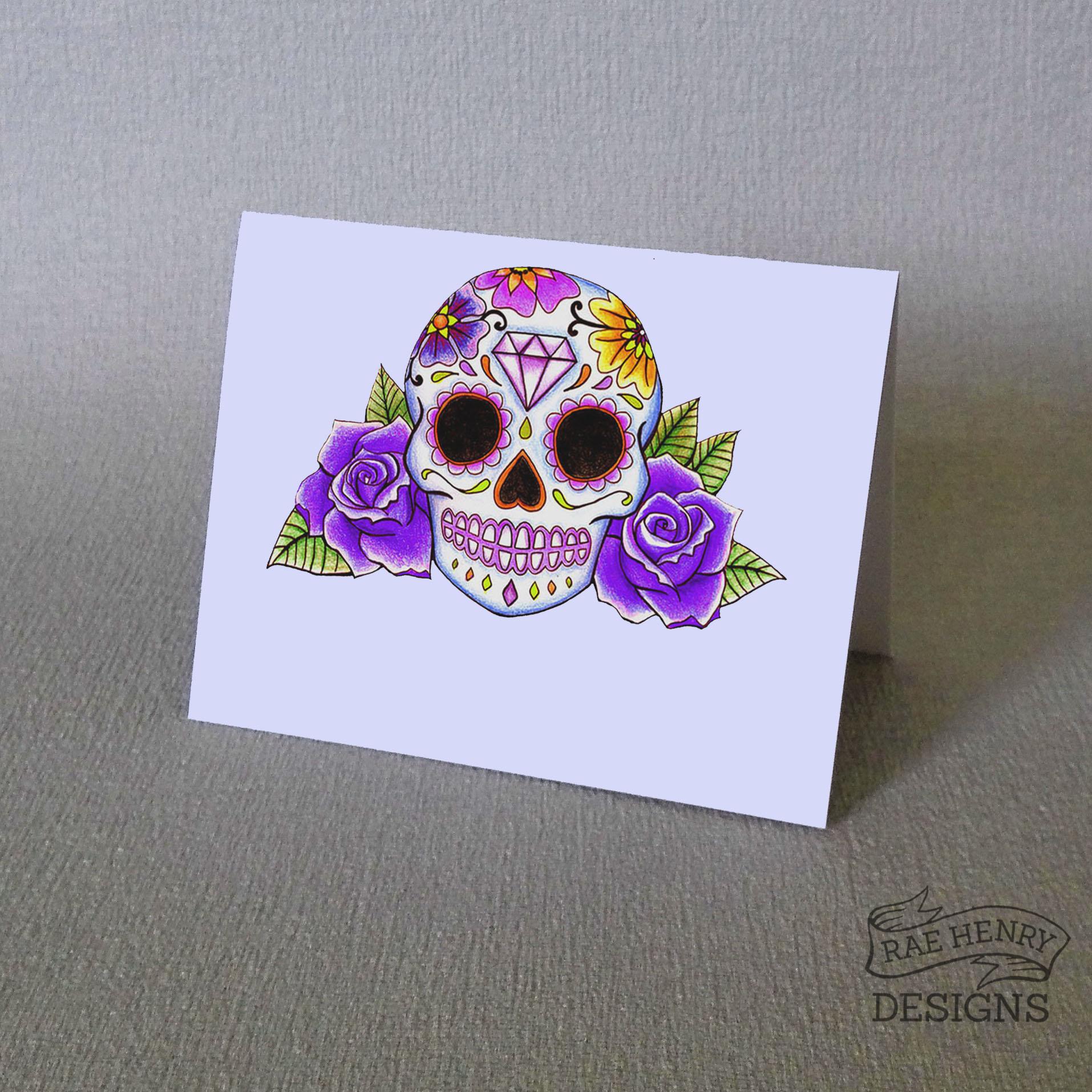 Purple Sugar Skull Place Cards