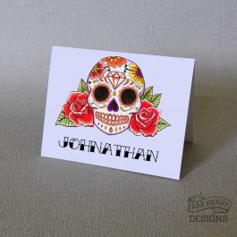 Red Sugar Skull Place Card Names
