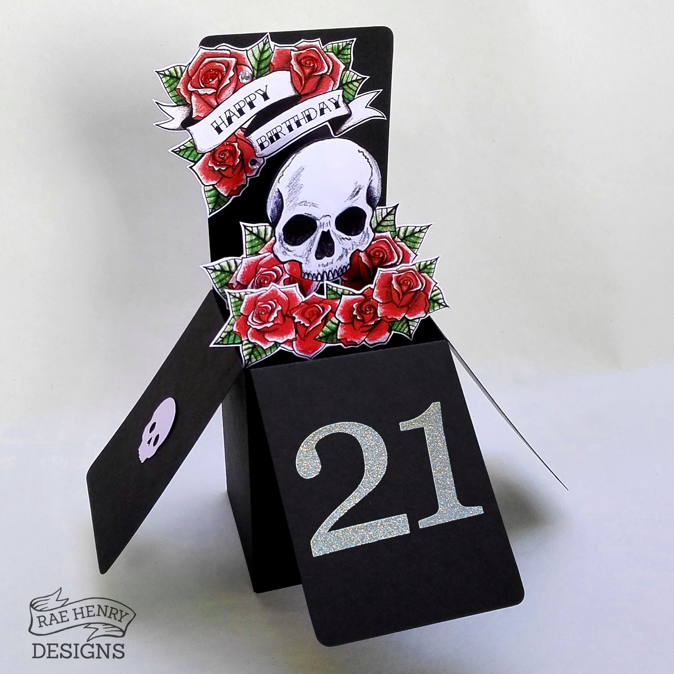 Skull and Roses Pop Up Birthday Card