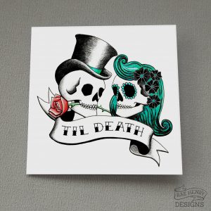 Rockabilly Skulls Card Til Death