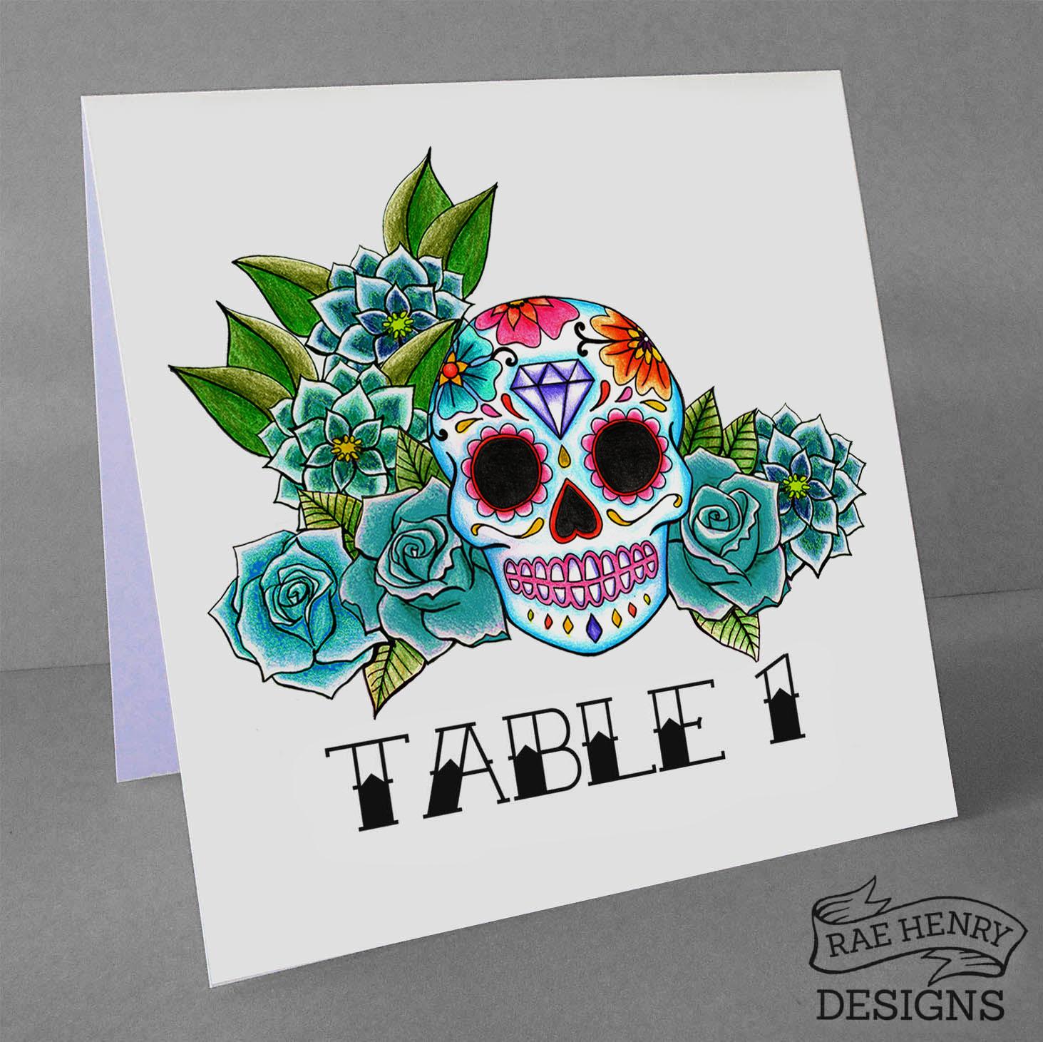 sugar skull table numbers