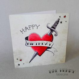 tattoo heart and dagger birthday card