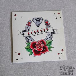 Traditional tattoo wedding card