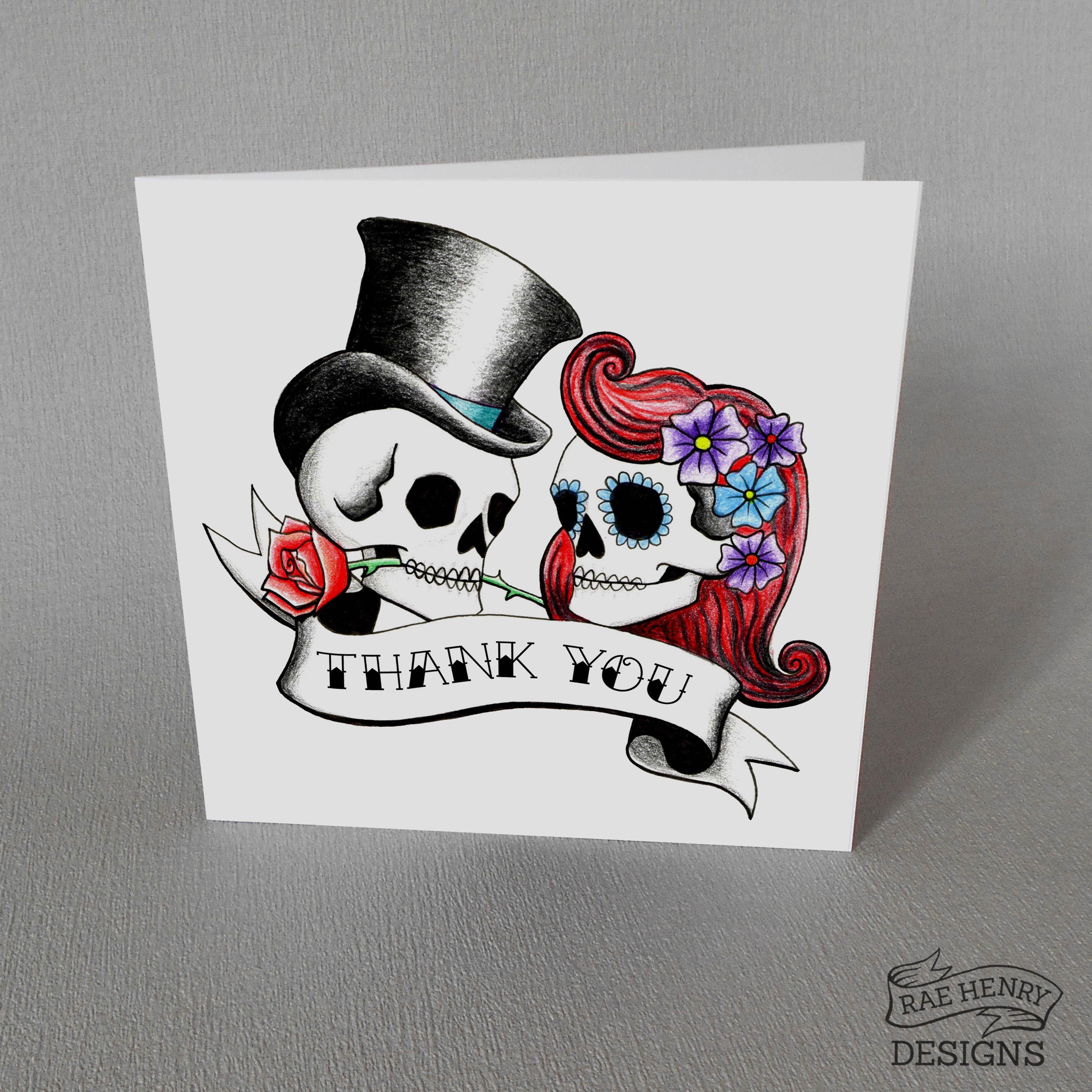 Rockabilly Skulls Thank You Card