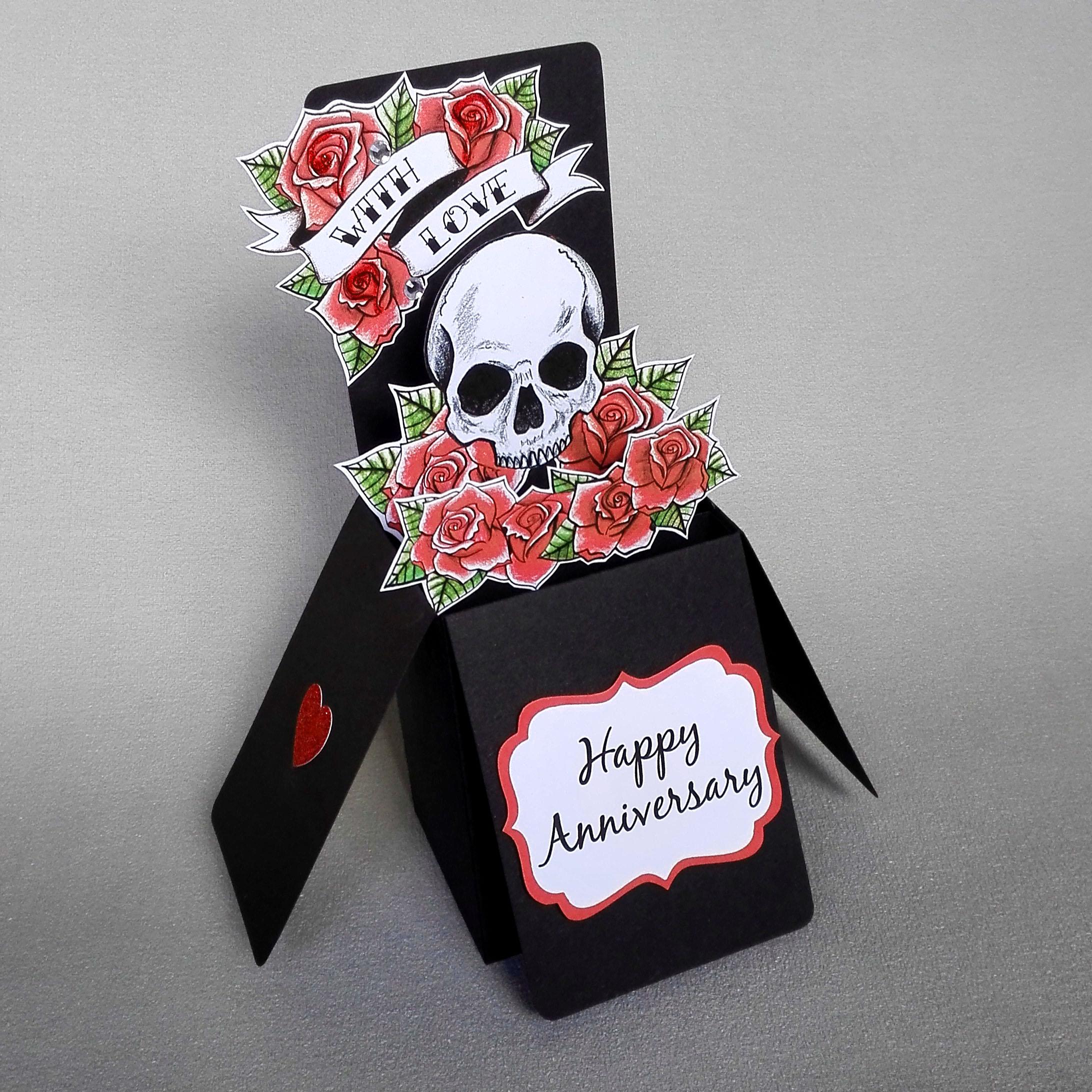 Skull & Roses Pop Up Anniversary Card