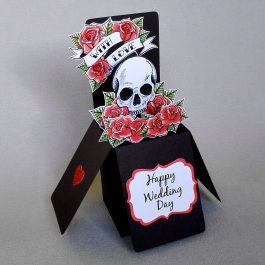 Skull & Roses Pop Up Wedding Card