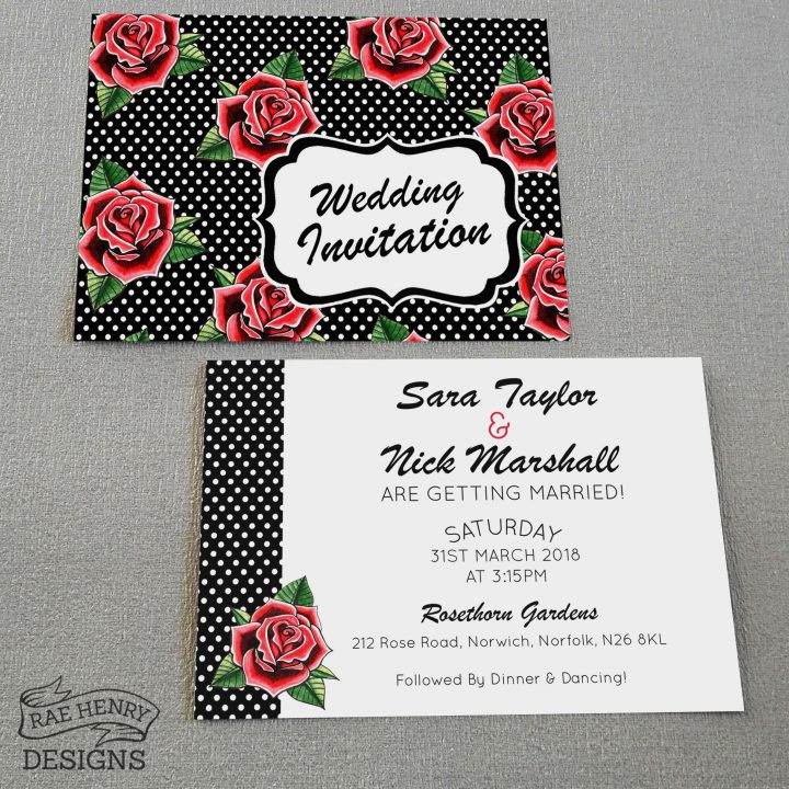 rockabilly rose wedding invitations