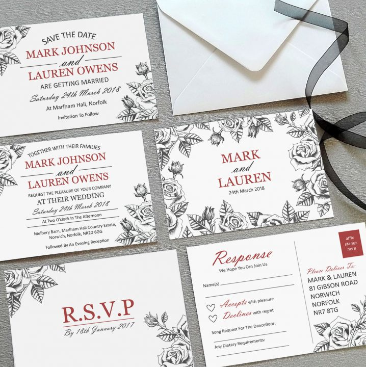 botanical rose invitations