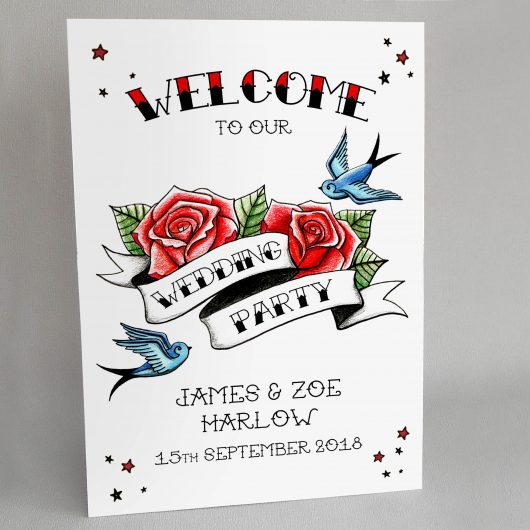 Swallows and Roses Wedding Welcome Sign