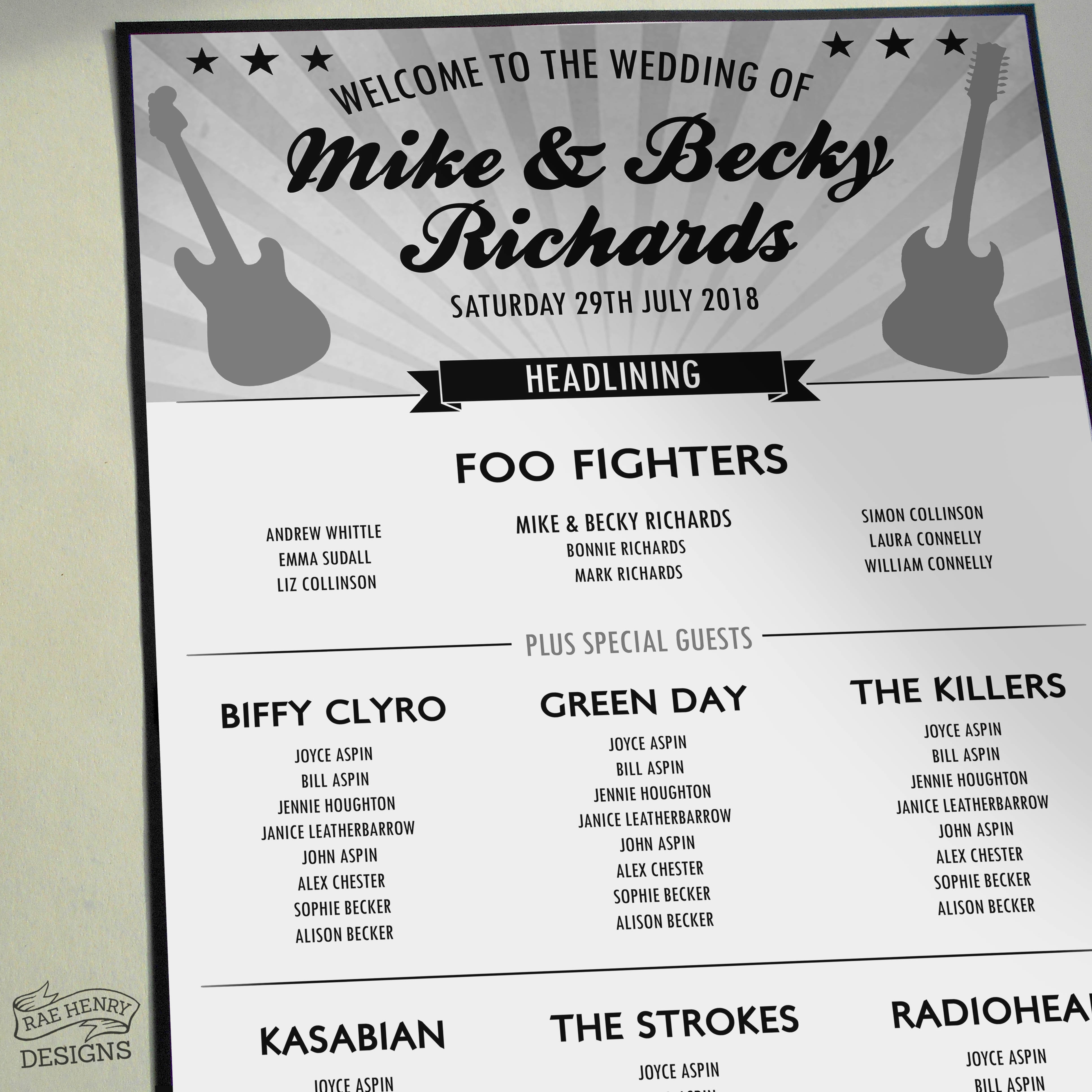 Rock n Roll Music table plan