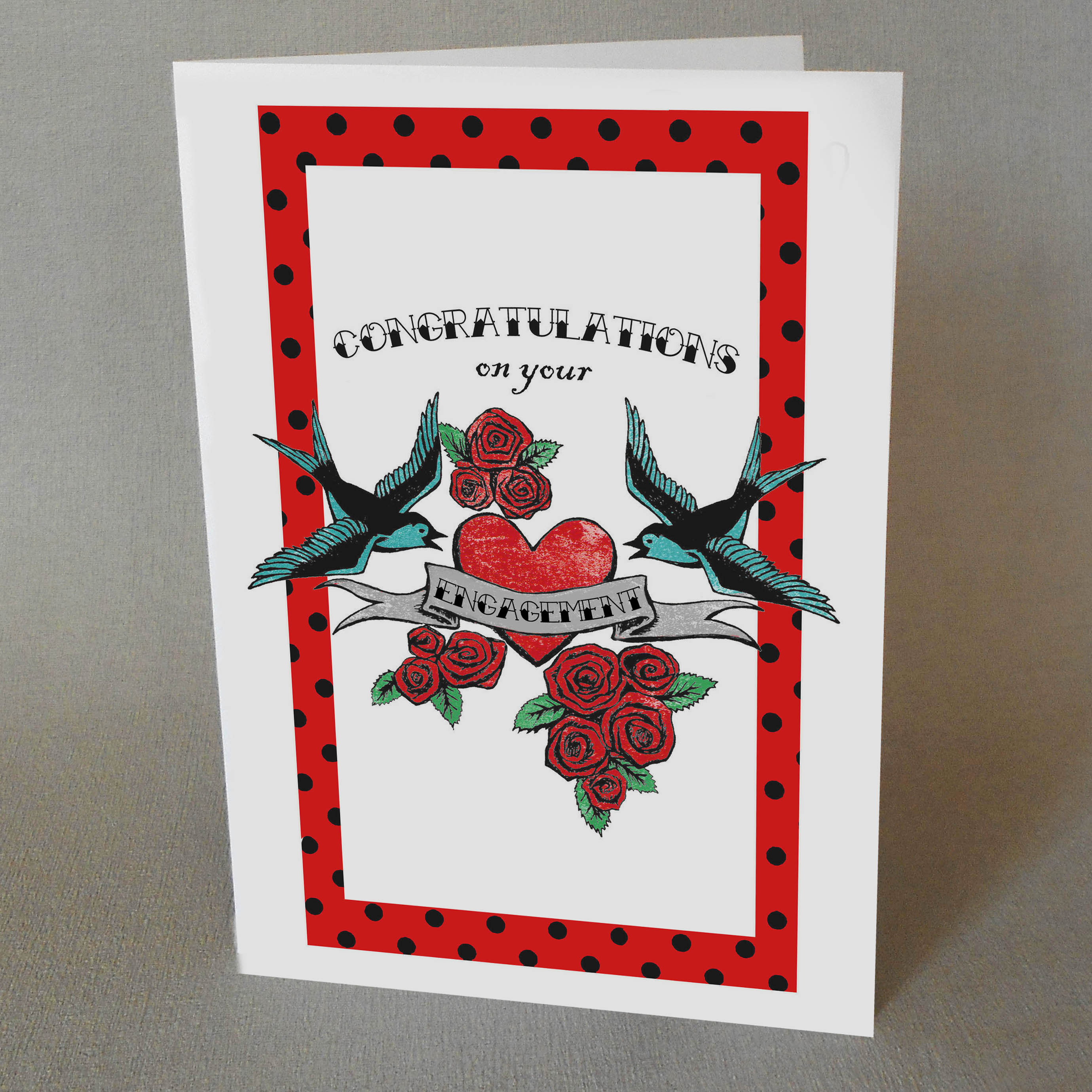 Tattoo Engagement congratulations Card