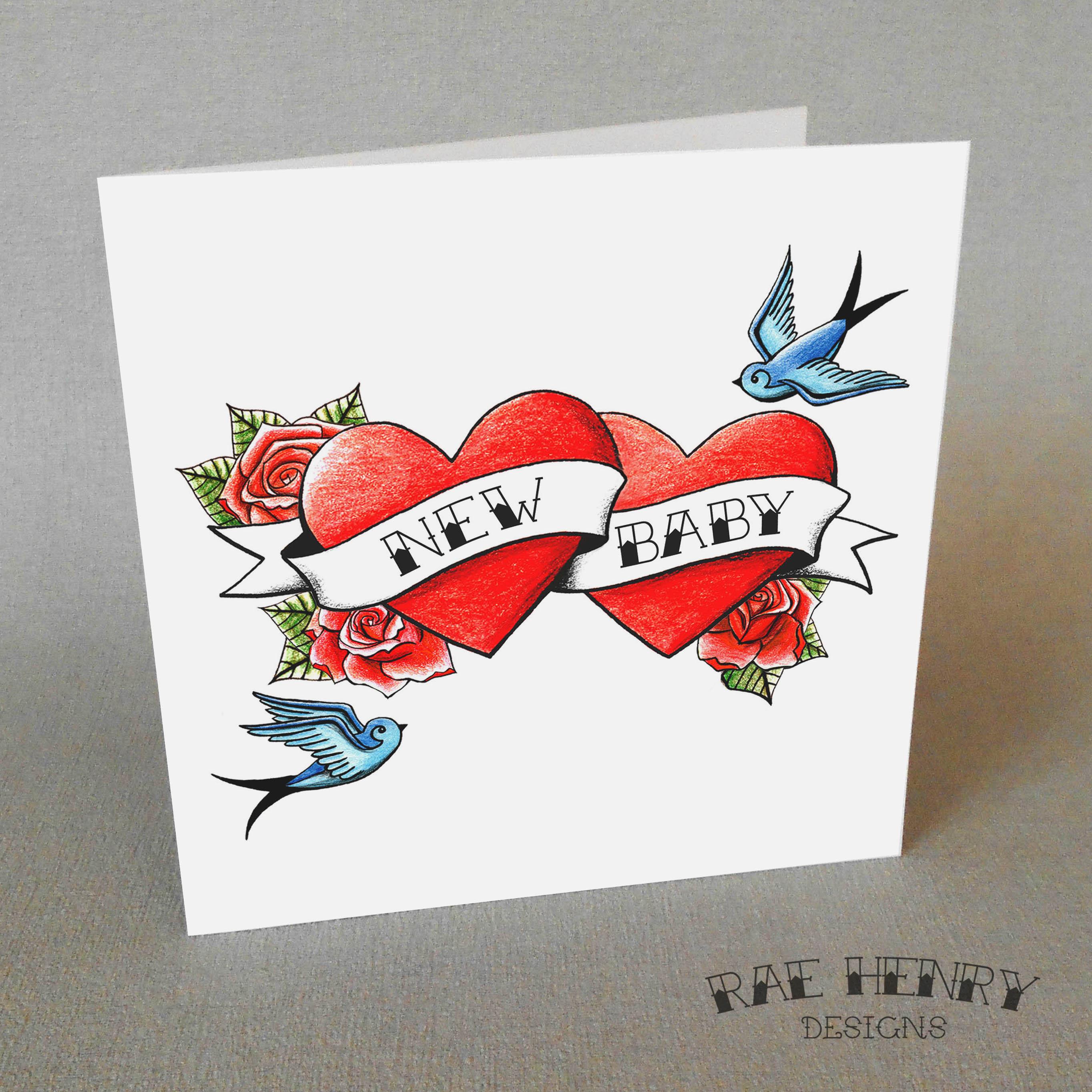 tattoo new baby card