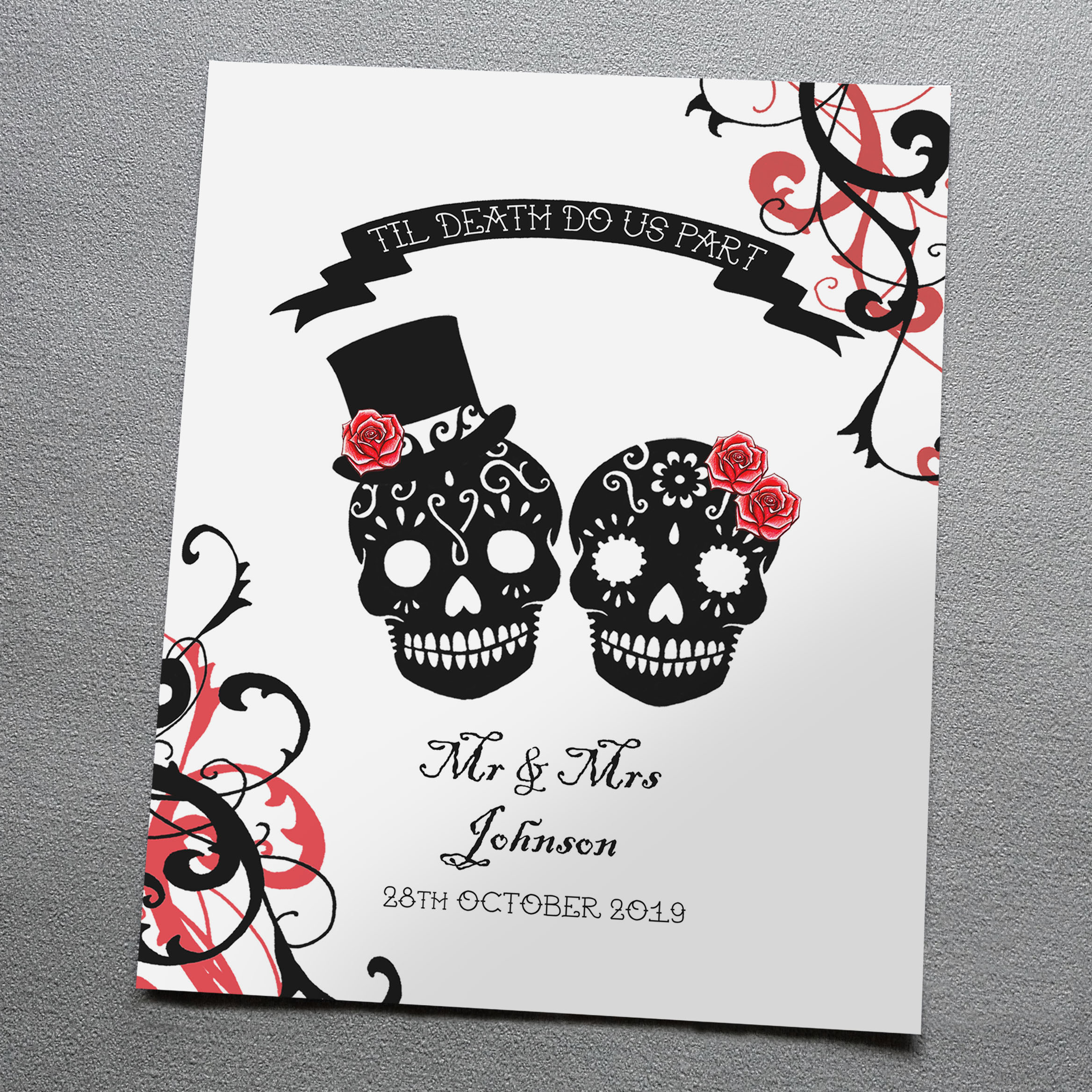 Personalised Sugar Skulls Art Print