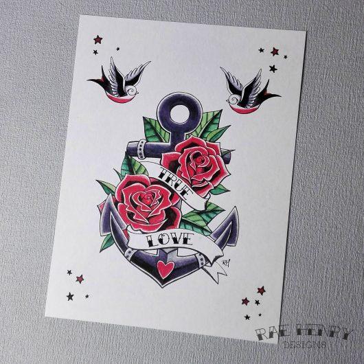 Tattoo Anchor Art Print