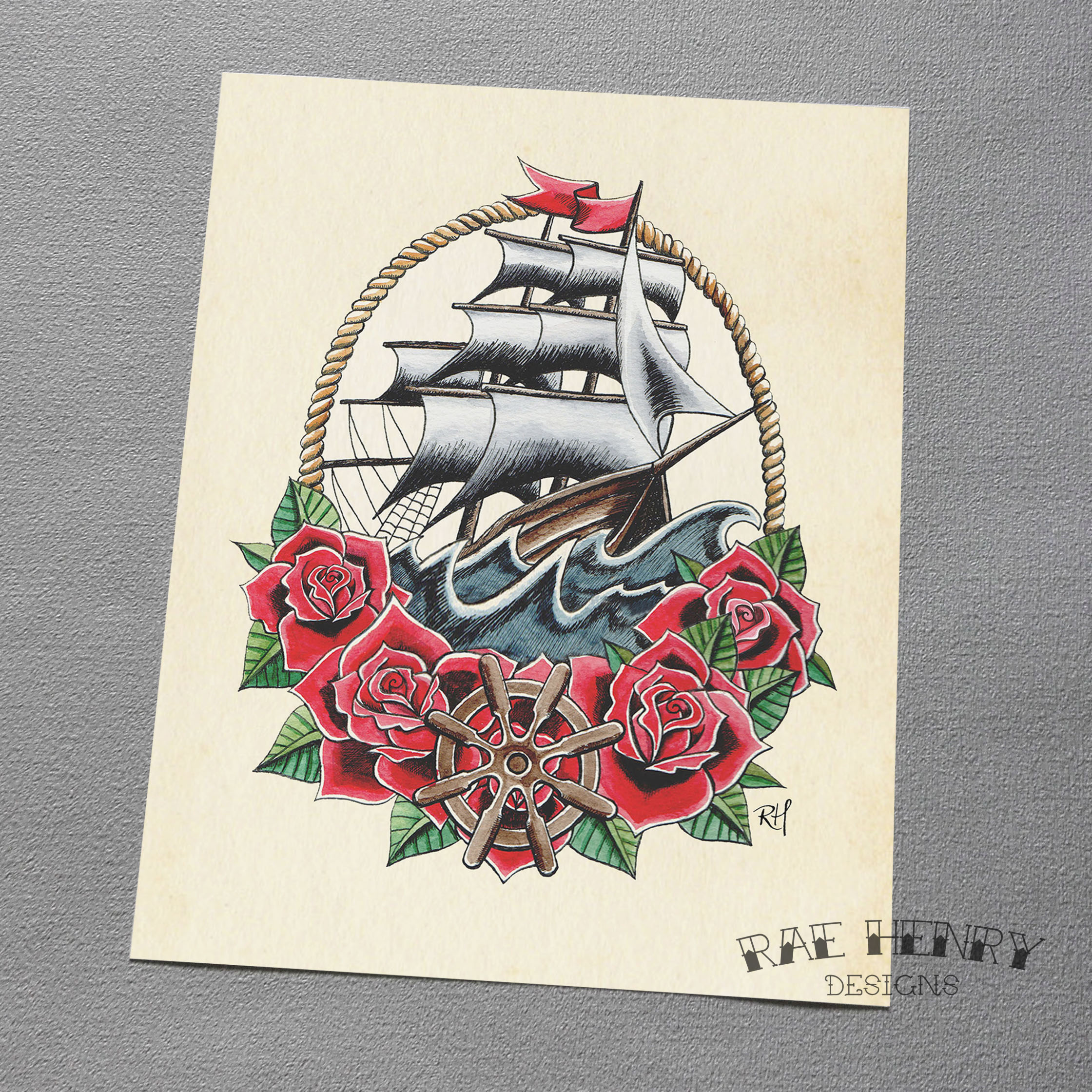 tattoo ship art print
