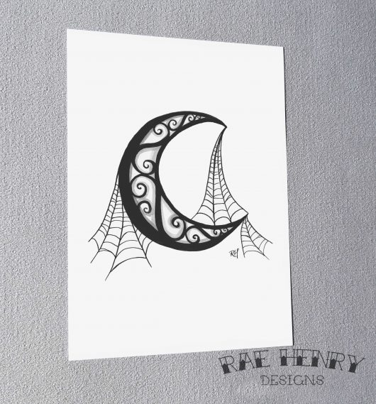 Cobweb Moon Art Print