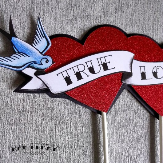 tattoo hearts & swallows wedding cake topper