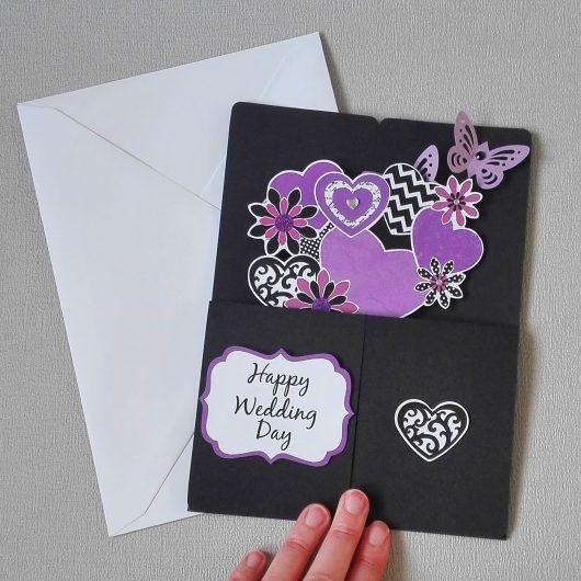 Purple Flowers Pop-up Wedding Card