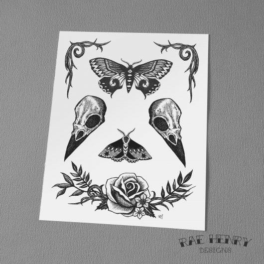 Raven Skulls art print