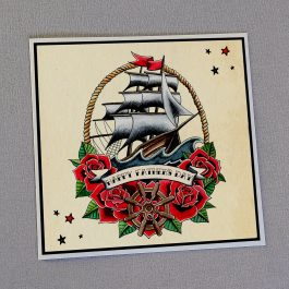 Traditional Tattoo Father's Day Card Ship