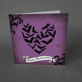 Gothic Anniversary Card Bats Heart