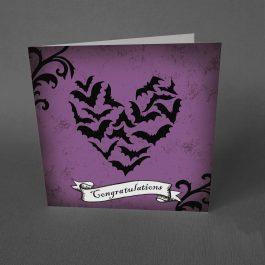 Gothic Congratulations Card Bats Heart